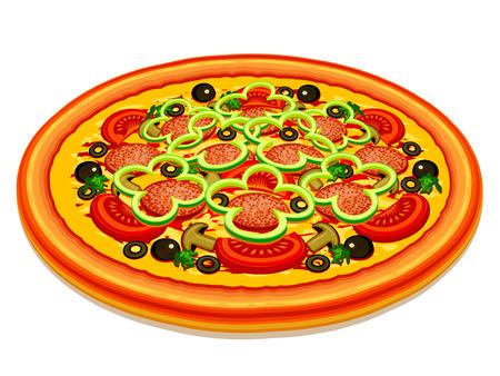 opvulmateriaal: Pizza met een verschillende vulling op een witte achtergrond