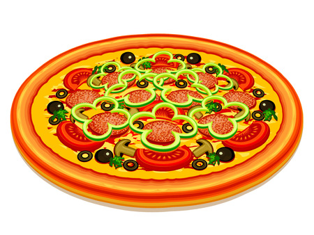 Pizza with a various stuffing on a white background