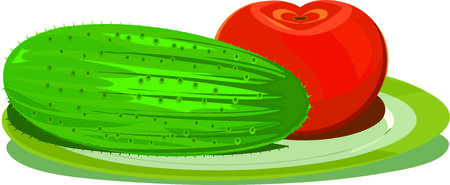 Cucumber and tomato on a simple plate Illustration
