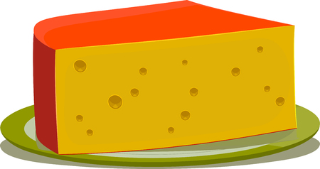 Cheese piece on a simple plate on a white    background