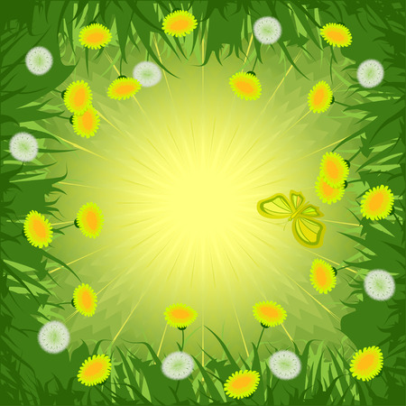 Green background with yellow and white dandelions