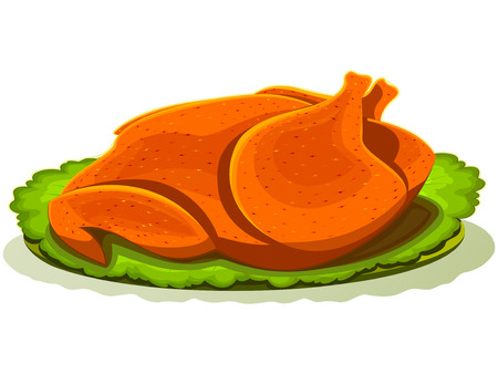 The stylized roast chicken with salad leaves on a  simple plate Stock Vector - 8554711