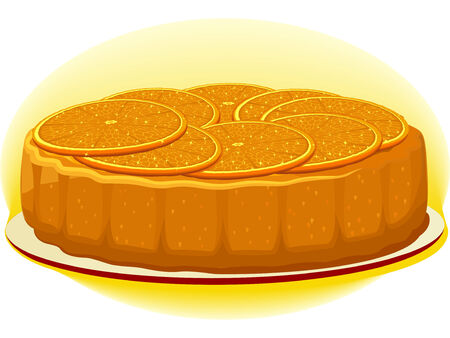 Biscuit pie with orange slices on a simple plate Illustration