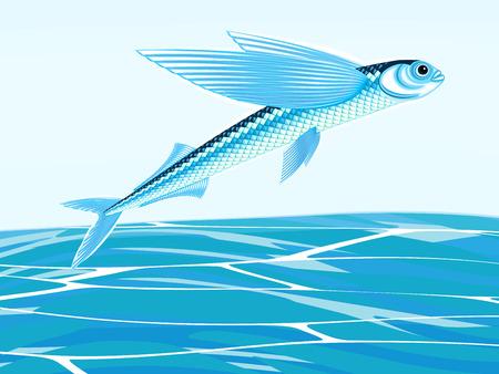 Fantasy flying fish against a sea landscape