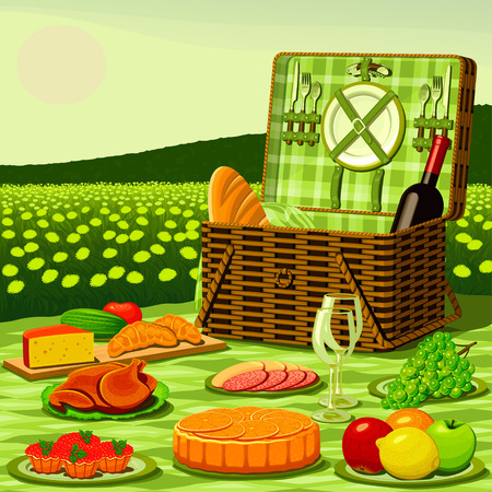 Picnic on a meadow in the middle of dandelions Vector