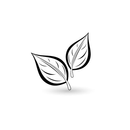 Isolated black leaf. Element for design. Vector illustration