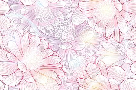 Seamless hand-drawing floral background with flower daisies. Çizim