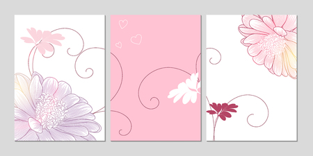 Home decor. Wall decoration art Set of backgrounds with flower daisy. Floral elements for the design of the living room, kitchen, bedroom. Vector illustration.