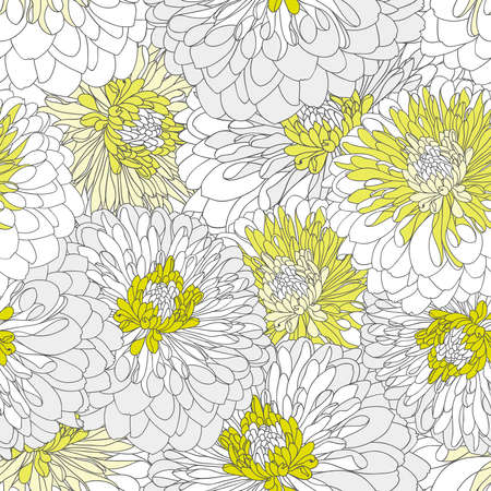 Beautiful seamless hand-drawing background with chrysanthemum flowers.