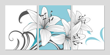 Home decor. Wall decoration art Set of backgrounds with flower lily. Floral elements for the design of the living room, kitchen, bedroom. Vector illustration.