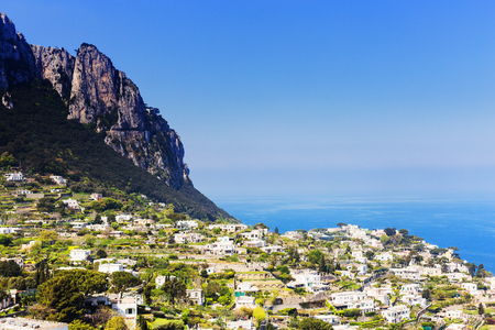 View of the Italian city and the sea, Amalfi Coast - architectural and tourist background Banque d'images