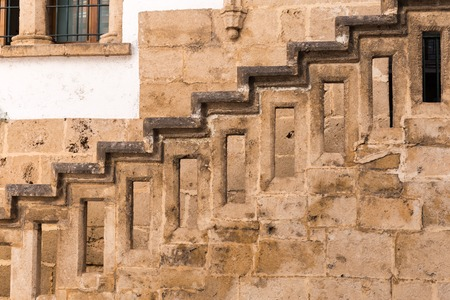 Stairs with balusters. Abstract classical architecture interior fragment.