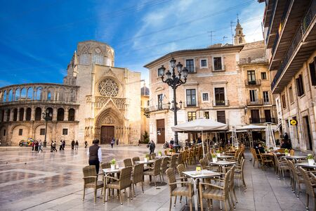 Valencia Spain - November 15, 2017: Open cafe on St. Mary s Square - the main landmark of the city.