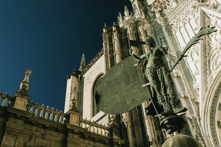 Fragment of the Cathedral - the main landmark of the city of Seville, Andalusia, Spain