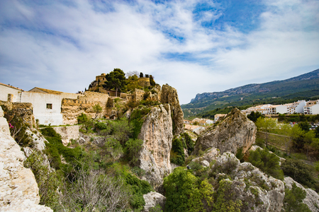 Panoramic view to beautiful landscape in mountain village Guadalest, Spain.
