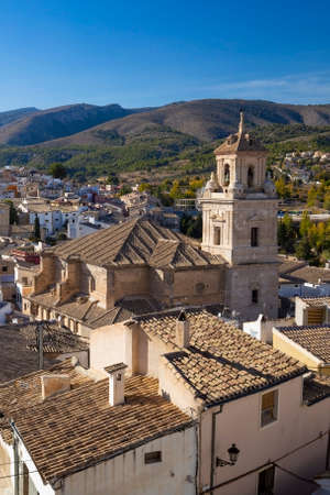 Caravaca, Spain - November 17, 2017: panorama of the city of Caravaca de la Cruz with many houses with tiled roofs, a place of pilgrimage near Murcia in Spain