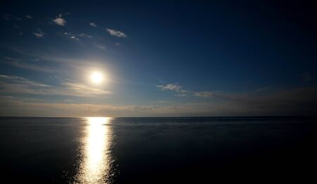 Clouds reflected on the water during sunset. High quality photo.