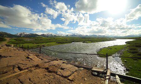 Beautiful mountain landscape. Suusamyr Valley, Kyrgyzstan. High quality photo