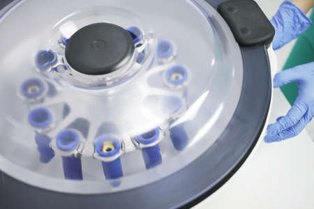 Laboratory medical centrifuge for the separation of blood components. High quality photo Reklamní fotografie