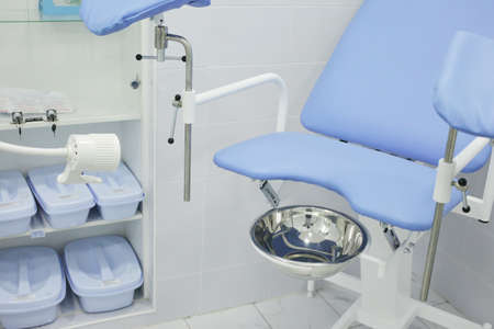 Gynecological chair in the hospital in the gynecologist's office. High quality photo