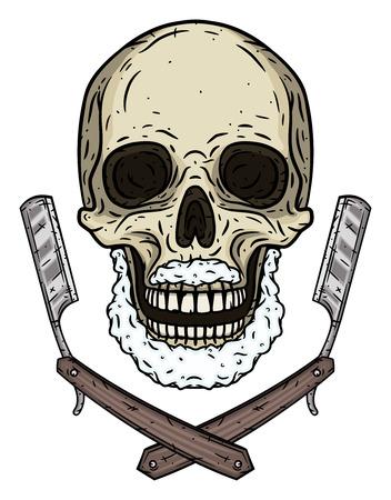 Skull with two shaving blades. Cartoon skull. Illustration