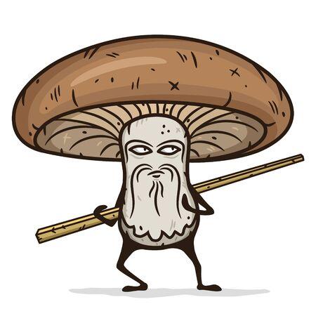 Shiitake mushroom cartoon character with wooden chopsticks. Çizim