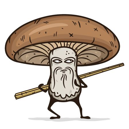 Shiitake mushroom cartoon character with wooden chopsticks. Illustration