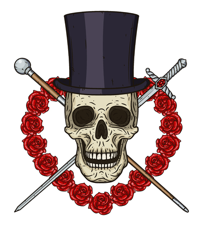 Cartoon Skull in cylinder hat, with a walking stick, a rapier and a heart of red roses.