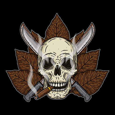 skull and crossed bones: Human skull with a cigar and crossed machetes.
