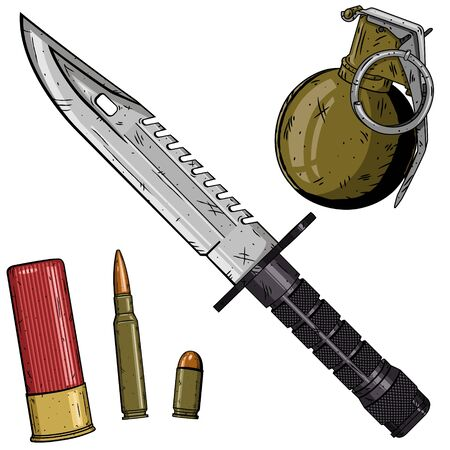 Cartoon weapons set over white background. USA weapon set.