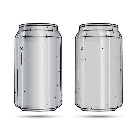 Two Aluminum cans isolated on white background.