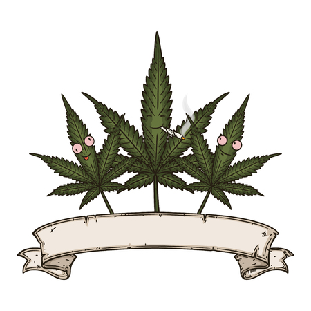 Three cannabis leafs with vintage scroll. Cartoon comic character.