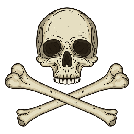 brutal: Human skull with two crossed bones isolated on white background. Illustration in hand drawn style. Illustration