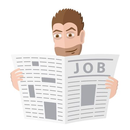 tabloid: Male character look for a job in a newspaper. Vector illustration.