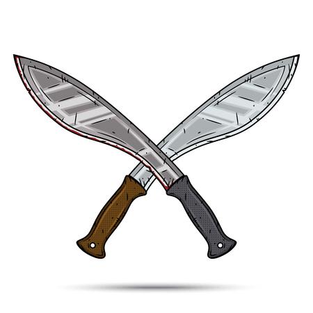 Twee gekruiste cartoon machetes. Cartoon kukri. Vectorillustratie geïsoleerd op witte achtergrond