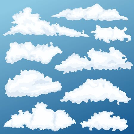 Cartoon cloud vector set. Clouds on a background of dawn.
