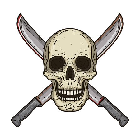 Human skull with two crossed machetes in hand drawn style.