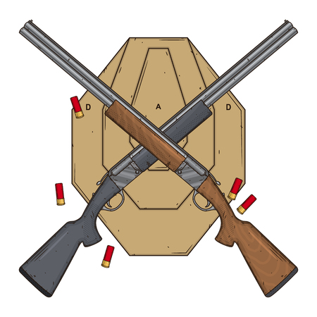 Two crossed shotguns with target and ammo, vector illustration isolated on white background. Hunting gun.