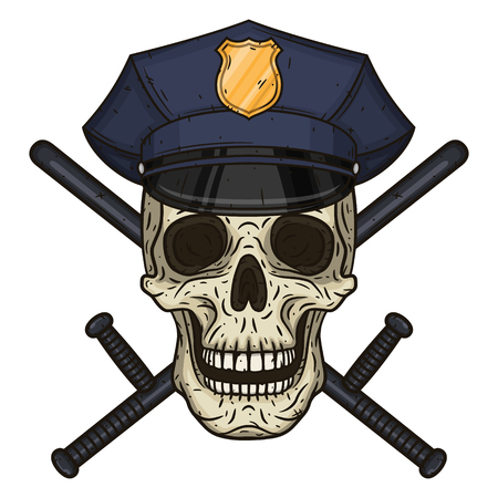 Vector illustration of human skull in police cap and crossed police baton in hand drawn style. Illustration