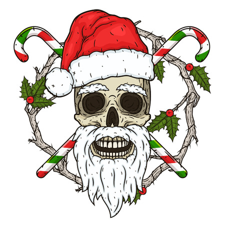 The skull of Santa Claus in the background of the branches of the omella and crossed candies. Santa claus skull.