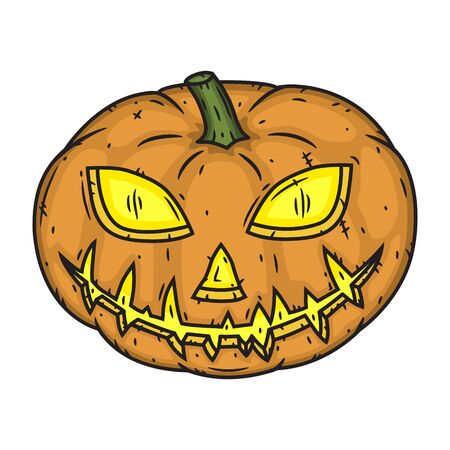 Halloween pumpkin handdraw style isolated on white background.