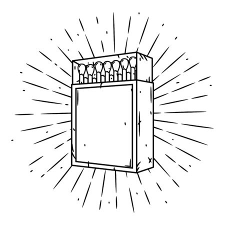 Hand drawn vector illustration with a matches box and divergent rays. Matches in a matchbox