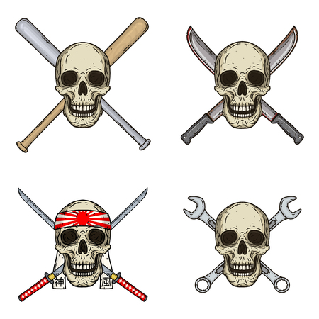 Set of four skulls with different objects. Skull with bats, wrenches, swords and machetes isolated on white background.