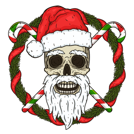 The skull of Santa Claus in the background of the branches of the Christmas tree and crossed candies. Santa claus skull.