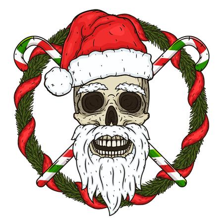 El cráneo de Santa Claus en el fondo de las ramas del árbol de Navidad y dulces cruzados. Calavera de santa claus