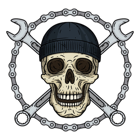 Vector illustration of human skull in black hat with two crossed wrenches and chaun. Vector skull with spanner.