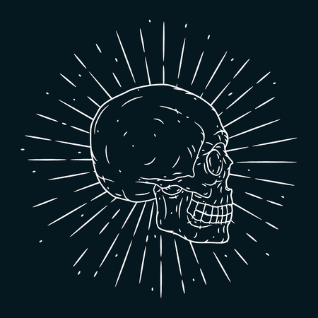 Hand drawn vector illustration with human skull on blackboard. Used for poster, banner, t-shirt print, bag print, badges and icon design. Illustration