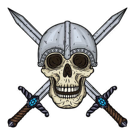 Skull with crossed swords and helmet Vector hand draw illustration.
