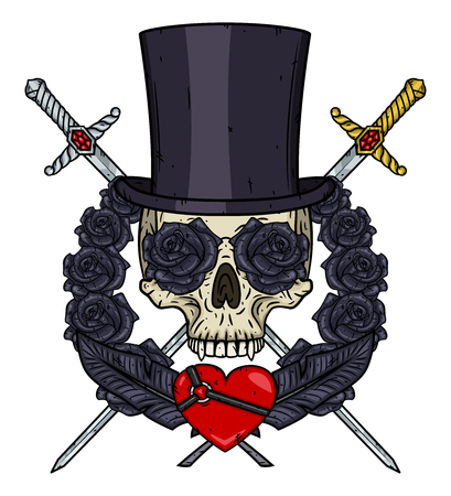 Cartoon Vampire Skull in cylinder hat, with a crossed swords, heart and roses.