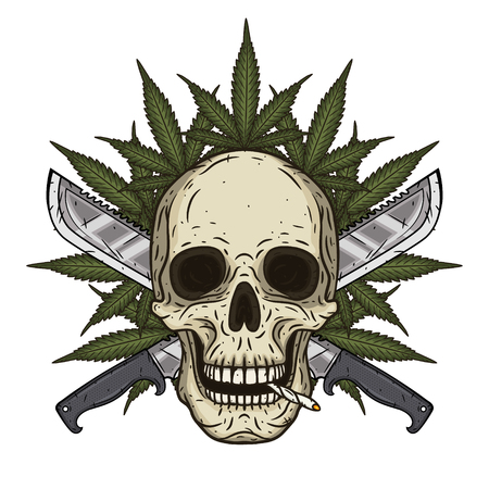 Human skull with two crossed machetes and marijuana leaf in hand drawn style. Rastaman skull with cannabis leafs.